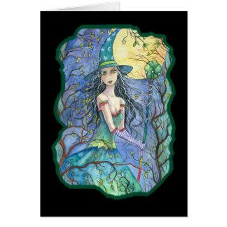 Tarjeta esmeralda de la bruja de Halloween por Mol