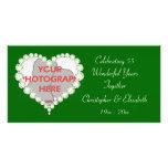 Tarjeta esmeralda de la foto del aniversario del d tarjetas fotograficas personalizadas
