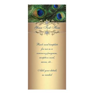 Tarjeta esmeralda elegante del estante del pavo re plantilla de lona