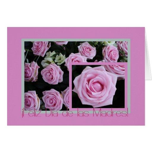 Tarjeta española bouquet3 subió rosa del día de ma