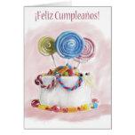 Tarjeta española de la torta de cumpleaños de Feli
