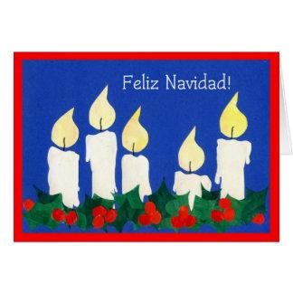 Tarjeta española de las velas del navidad