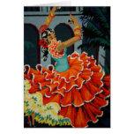 Tarjeta española del bailarín del flamenco