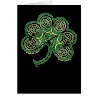 Tarjeta espiral céltica, diseño irlandés del trébo