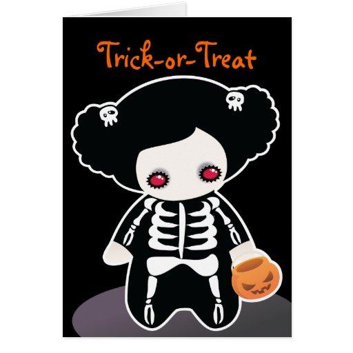 Tarjeta esquelética de Halloween para los niños
