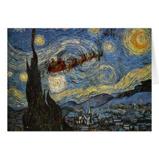Tarjeta estrellada de la noche de navidad