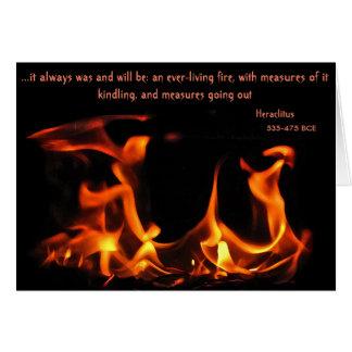 Tarjeta eterna del fuego de Heraclitus