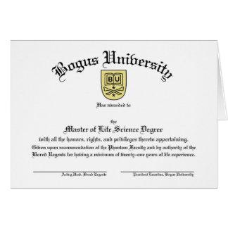Tarjeta falsa del diploma de la universidad