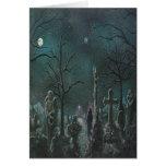 Tarjeta fantasma de Halloween del cementerio