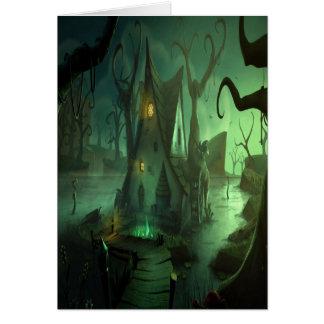 Tarjeta fantasmagórica de Halloween de la casa