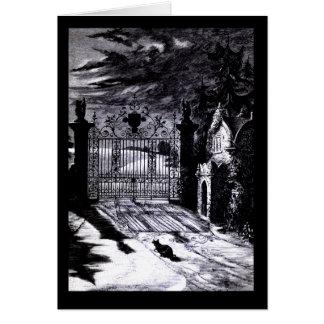 Tarjeta fantasmagórica de Halloween de la escena d