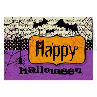 Tarjeta fantasmagórica de Halloweenn de los palos