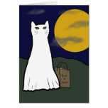 Tarjeta fantasmagórica del gatito del truco o de l