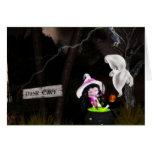 Tarjeta fantasmal linda de Halloween