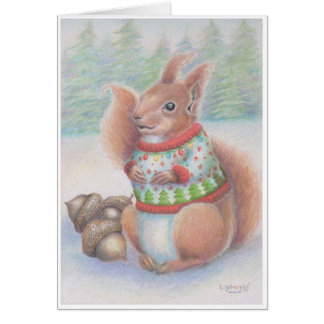 Tarjeta fea de la ardilla del suéter del navidad