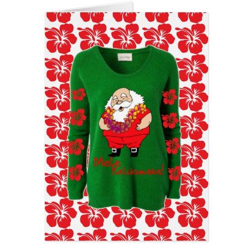 Tarjeta fea hawaiana del suéter de Santa