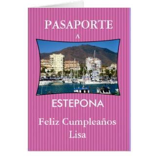 Tarjeta Felicitación con pasaporte de viaje