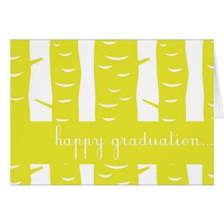 Tarjeta feliz amarilla de la graduación de los