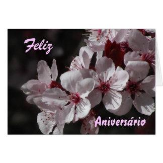 Tarjeta - Feliz Aniversário - Flores de Cerezo