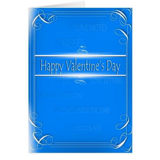 Tarjeta feliz blanca azul del el día de San Valent