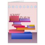 Tarjeta feliz coloreada de Purim de los bloques