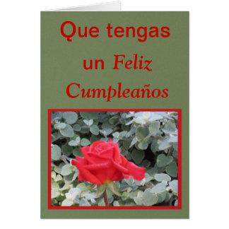 Tarjeta - Feliz Cumpleaños - rosa rojo