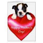 Tarjeta feliz de Boston Terrier del día de madre