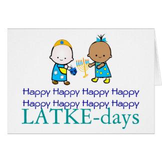 Tarjeta feliz de Chanukah de los LATKE-días