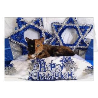 Tarjeta feliz de Chanukah del gato de la cara de V