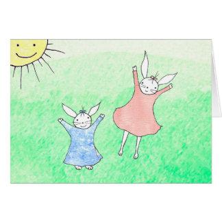 Tarjeta feliz de Greating de los conejitos