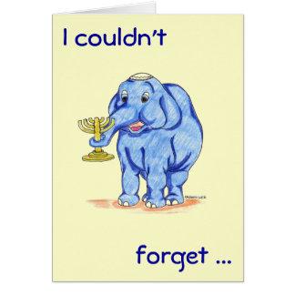 Tarjeta feliz de Jánuca con el elefante lindo
