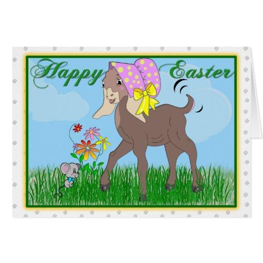 Tarjeta feliz de la cabra de Pascua