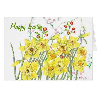 Tarjeta feliz de la flor de Pascua