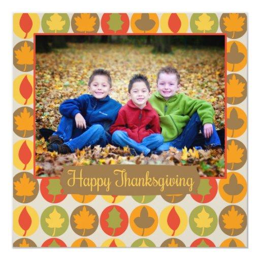 Tarjeta feliz de la foto de la acción de gracias invitación 13,3 cm x 13,3cm
