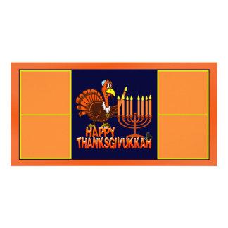 Tarjeta feliz de la foto de Thanksgivukkah Tarjetas Fotograficas Personalizadas