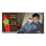 Tarjeta feliz de la foto del navidad de Honu que p Tarjetas Fotográficas