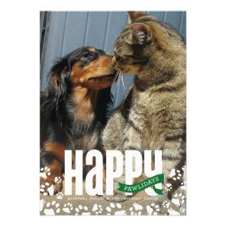 Tarjeta feliz de la foto del navidad del mascota d comunicado personalizado