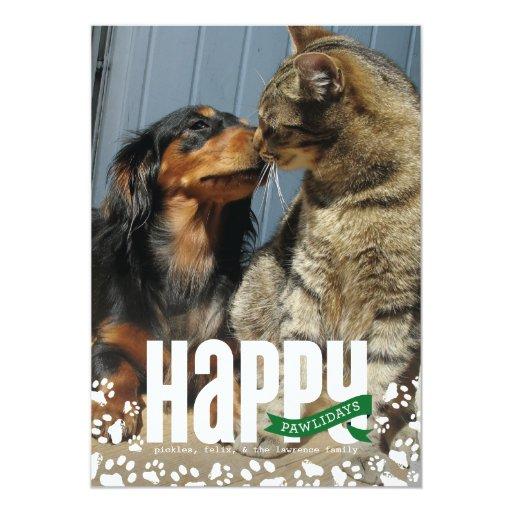 """Tarjeta feliz de la foto del navidad del mascota invitación 5"""" x 7"""""""