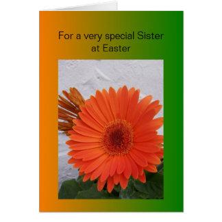 Tarjeta feliz de la hermana de Pascua - Gerbera