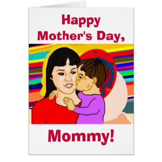 Tarjeta feliz de la mamá del día de madre (niño
