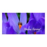 Tarjeta feliz de la primavera tarjeta con foto personalizada