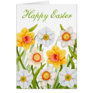 Tarjeta feliz de los narcisos de Pascua