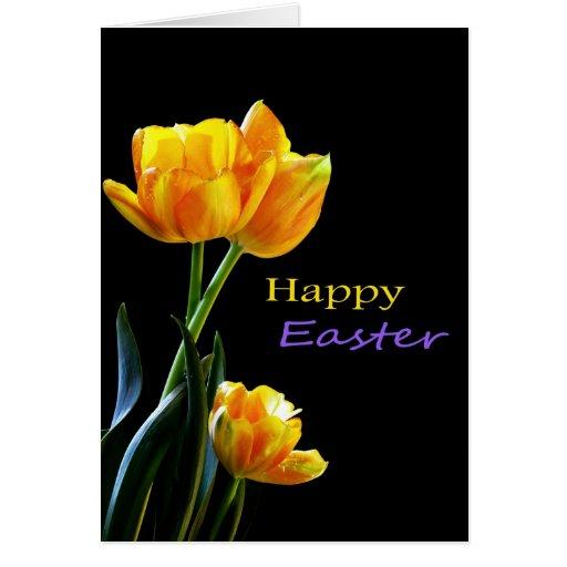 Tarjeta feliz de los tulipanes de Pascua