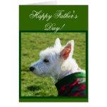 Tarjeta feliz de Westie Terrier del día de padre