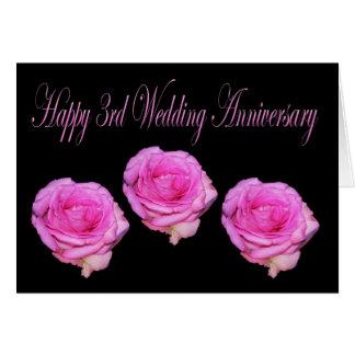Tarjeta feliz del aniversario de boda de los rosas