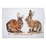 Tarjeta feliz del aniversario de los conejos