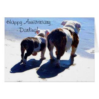 Tarjeta feliz del aniversario de los dogos inglese
