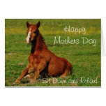 Tarjeta feliz del caballo del día de madres