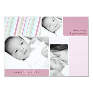 Tarjeta feliz del collage de la foto de Pascua Invitacion Personal