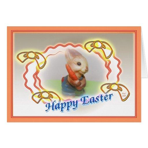 Tarjeta feliz del conejito de pascua